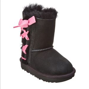 UGG Pala black suede boots with pink bow toddler